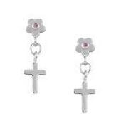 Girls Jewellery - Silver Pink Sapphire Flower Dangling Cross Earrings