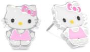 Girls Hello Kitty Silver Plated Brass Enamel Stud Earrings