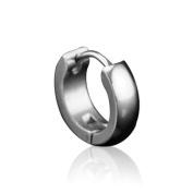 (Holiday Gift and. U2u New a Pair of 316l Stainless Steel Unisex Sliver Scrub Huggie Hoop Earrings