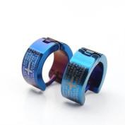 U2U New Stainless Steel Cross Blue Huggie Hoop Earrings