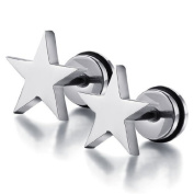 (Holiday Gift and. U2u New a Pair of Stainless Steel Sliver Five-pointed Star Earrings