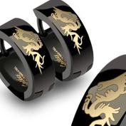 U2U New a Pair of 316l Stainless Steel Fly Dragon Black Huggie Hoop Earring