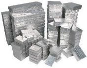 100 Pieces Assorted Sizes Silver Cotton Filled Jewellery Gift Boxes Foil Box Store
