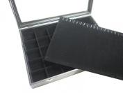 Glass Top Black Velvet 2 Layers Multi-purpose Fashion Jewellery Display Case