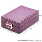 Generic Leather Purple Double Layer Internal Mirror Travel Jewellery Box
