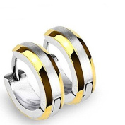 U2U Pair of 316l Surgical Stainless Steel Hoop Earring with Gold Plated Edges and Brushed Steel Centre