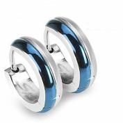 U2U Pair of 316 Surgical Stainless Steel Blue Ip 2 Tone Hoop Earring