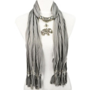 Fashion Desinge a Series of Plaits Adorn with Alloy Charm Elephant Pendant Grey Jewellery Scarf,12 Colours,nl-1788g