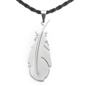 U2U Classic Stainless Steel Silver Feather Pendant Necklace with Chains