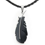 U2U Classic Stainless Steel Black Feather Pendant Necklace with Chains