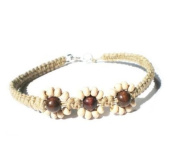 Hawaiian Inspired Beaded Flower Handmade with Natural Hemp Anklet