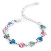 Silver Paua Shell Heart Link Anklet by Jewely Nexus