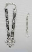 Black Western Bling Rhinestone Fleur De LIS Boot Chain/anklet/bracelet