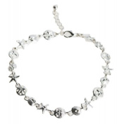 Sand Dollar Starfish and Sea Shell Silver Link Anklet by Jewellery Nexus