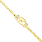 14k Yellow Gold 22.9cm Polished Dolphin Anklet. Gold Wt- 2.25g.