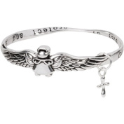 Heirloom Finds Silver Tone Guardian Angel Bangle Bracelet Guide and Protect
