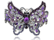 Purple Amethyst Clear Crystal Rhinestone Butterfly Insect Bracelet Bangle Cuff