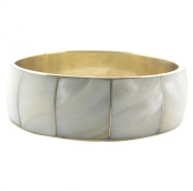 24mm Wide Mother of Pearl Inlaid on Solid Brass Bangle
