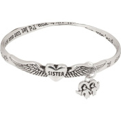 Heirloom Finds If Sisters Were Flowers Angel Wing Bangle Bracelet with Poem and Charm