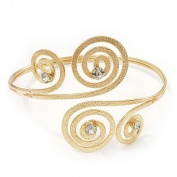 Gold Plated Textured Diamante 'Swirl' Upper Arm Bracelet - Adjustable