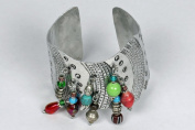 Maisha Beautiful African Fair Trade African Fair Trade Slightly Flexible Silver Colour Bracelet,Cuff with Lime Green,Blue,and Red Accent Beads