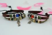 Valentine Gift! Handmade Leather Key and Lock Pendant Couple Bracelet Jewellery