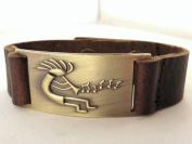 Kokopelli Leather Bracelet, Adjustable
