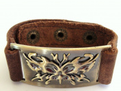 Butterfly Leather Bracelet, Adjustable