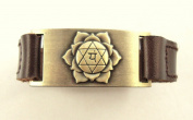 Heart Chakra Leather Bracelet, Adjustable