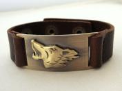 Wolf Leather Bracelet, Adjustable