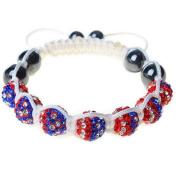 USA America American Flag Red Blue White Cord Macrame Beaded Adjustable Bracelet