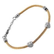 Stainless Steel Rose Cable Bangle Bracelet for Lady with 3 Clear Jewelled Hearts