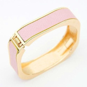 Pink Faux Leather Metal Square Bangle Bracelet