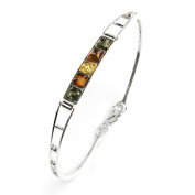 Multicolor Amber and Sterling Silver Small Square Bangle, 16.5cm