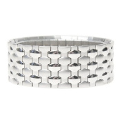 Mille Lucci Panther Stainless Steel Stretch Cuff Bracelet
