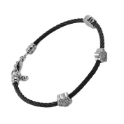 Stainless Steel Black Cable Bangle Bracelet for Ladies with 3 Jewelled Flowers