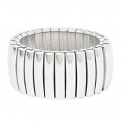 Mille Lucci Retro Art Deco Steel Cuff Bracelet