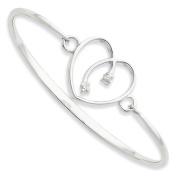 SS White Ice .06ct. Diamond Heart Bangle Bracelet