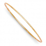 14k 1.5mm Rose Gold Diamond-Cut Slip-on Bangle Bracelet