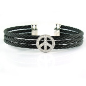 Sterling Silver Peace with Diamonds Bangle and Stainless Steel Cable