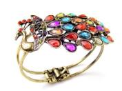 Zehui Vintage Style Rainbow Crystal Peacock Bangle Bracelet Cuff