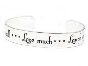 Live Well, Love Much, Laugh Often Inspirational Message Silver Tone Metal Cuff Bracelet