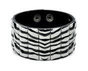 Zebra Pyramid Stud Wristband Cuff Bracelet