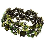 Green Flower Painting and Crystal Cuff Bangle Bracelet Fashion Jewellery