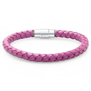 Oxford Ivy Lavender Braided Leather Bracelet - Stainless Steel Locking Magnetic Clasp