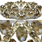 Champagne With Aura Borealis Highlights Faceted Stretch Bracelet Fashion Jewellery