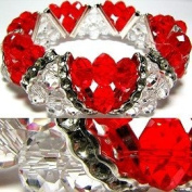 Ruby Red & Clear Faceted Stretch Bracelet Fashion Jewellery