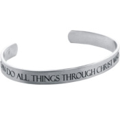 "Forgiven Jewellery - Stainless Steel - Etched ""I CAN Do ALL Things Through Christ""... Philippians 4:13 Cuff Bracelet"