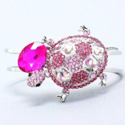 Gorgeous Turtle Hinged Cuff Bangle Bracelet Pink and Ab Crystals Rhodium Plated Gift Boxed