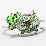 Gorgeous Green Crystal Turtle Hinged Cuff Bangle Bracelet Rhodium Plated Gift Boxed